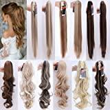 "Ombre 2Tones Jaw Claw Ponytail Hair Extensions 18""/24""/26"" Straight Big Wave Ponytails"
