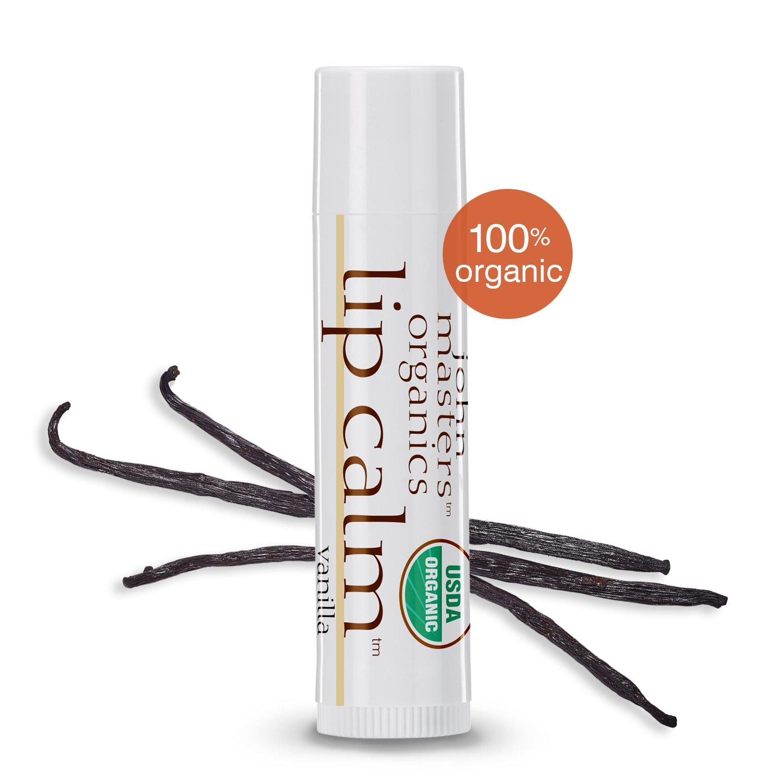 John Masters Organics - Lip Calm Vanilla - USDA Certified Organic Natural Lip Balm to Moisturize, Hydrate & Soothe Chapped Lips - 0.15 oz (Box of 12)
