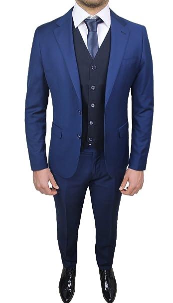 6f8aa292a940 Abito Completo Uomo Sartoriale Blu Elegante con Gilet e Cravatta in  Coordinato  Amazon.it  Abbigliamento