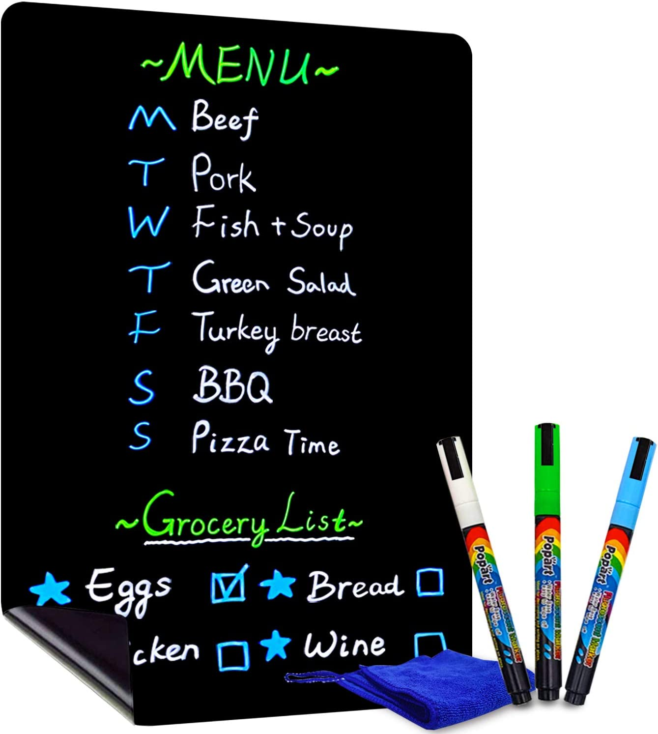 CUHIOY Magnetic Black Dry Erase Board for Refrigerator, 17x11