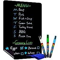 "CUHIOY Magnetic Black Dry Erase Board for Refrigerator, 17x11""Fridge Chalkboard, Dry Erase Planning Board for Notepad…"
