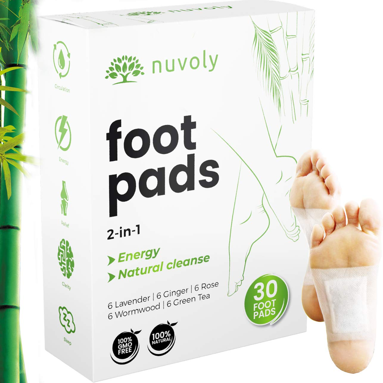 Foot Pads, 30 Pack, All Natural and Organic Formula, Upgraded 2 in 1 Patches