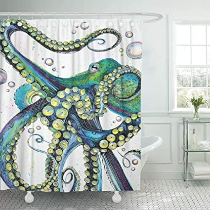 Emvency Shower Curtain Vintage Colorful Fashion Octopus Painting Polyester Fabric 78 X 72 Inches Curtains