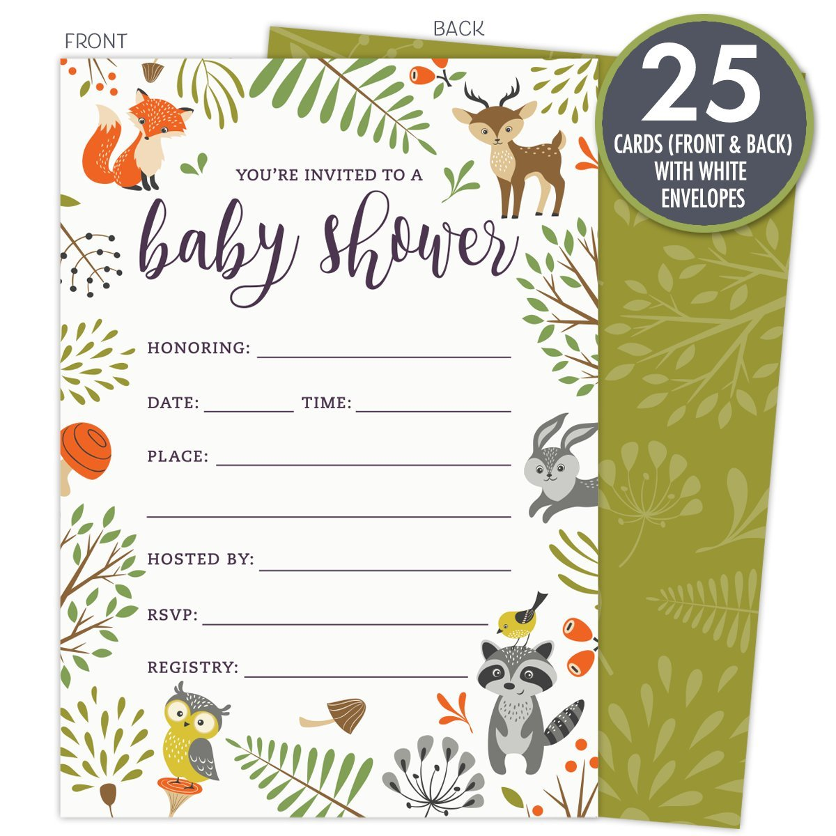 Amazon.com: Woodland Baby Shower Invitations with Owl and Forest ...