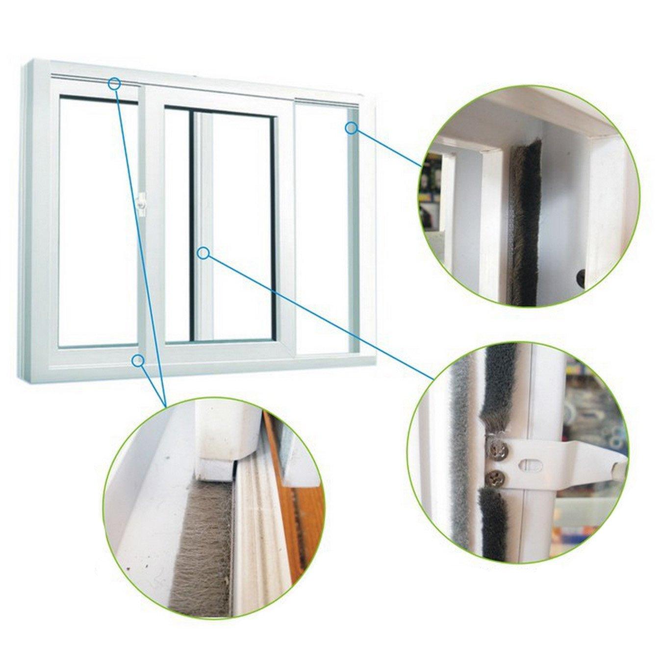 UOOOM 10m Door Window Self Adhesive Brush Strip Pile Windproof Dustproof Weather Strip Seal (Pile Height: 15mm (for gaps 7.5 - 13 mm), Gray)