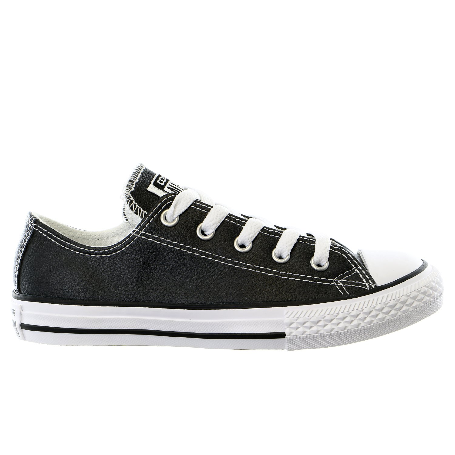 CONVERSE Kid's Chuck Taylor All Star Leather OX Fashion Sneaker Shoe - Black/White - 13.5