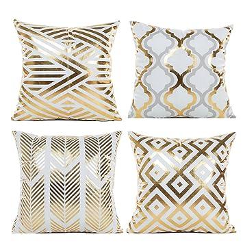Ammon Lowen Juego de 4 Fundas de Cojín o Almohada Diseño de Figuras Geométricas en Color de Dorado y Blanco para la Decoración del Hogar sin Inserto ...