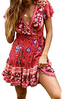 Floral Printed Strappy Maxi Dress,PAOLIAN Women Off Shoulder Slit Casual Bohemian Daily Party Holiday Long Sundress Beachwear