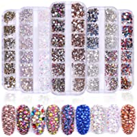 VolksRose 3D Nail Art Rhinestones Supplies Diamond DIY Gift, 8 Boxes Glitter Crystal AB Round Flatback Charms Gems for…