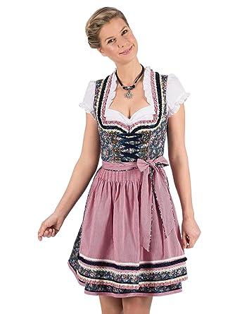 Caro Gr Krüger Madl Dirndl Midi 2tlg 32 36 44 rosa weiß mit Spitze Trachten