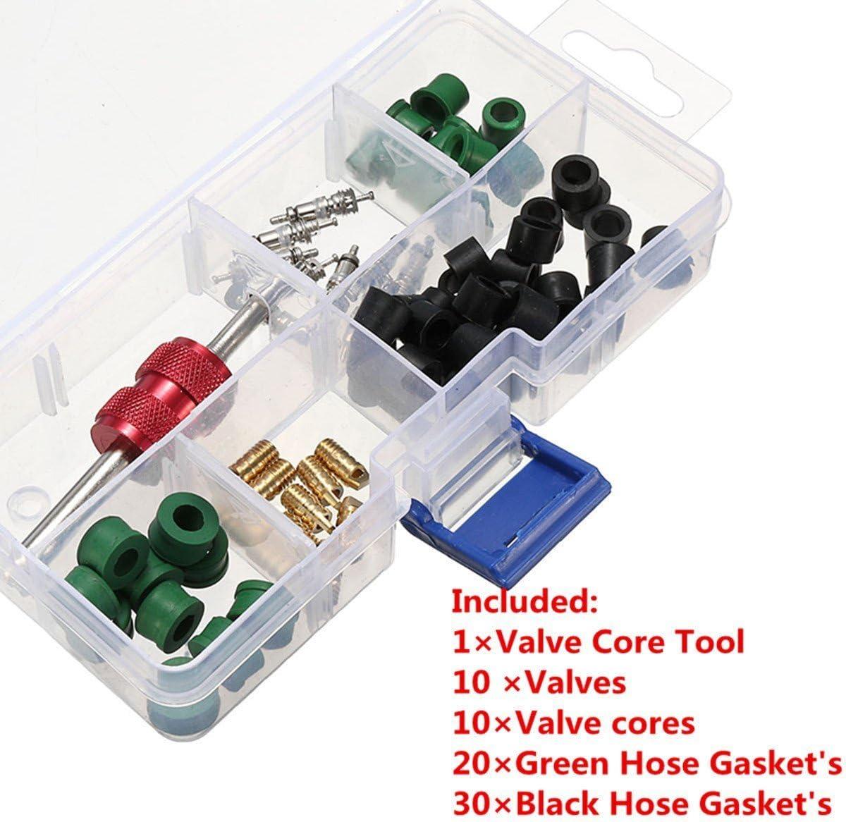 71 Pcs Air Conditioning Valve Core A//C Repair Tool,10Pcs Value Cores+50Pcs Hose Gaskets+10Pcs Values