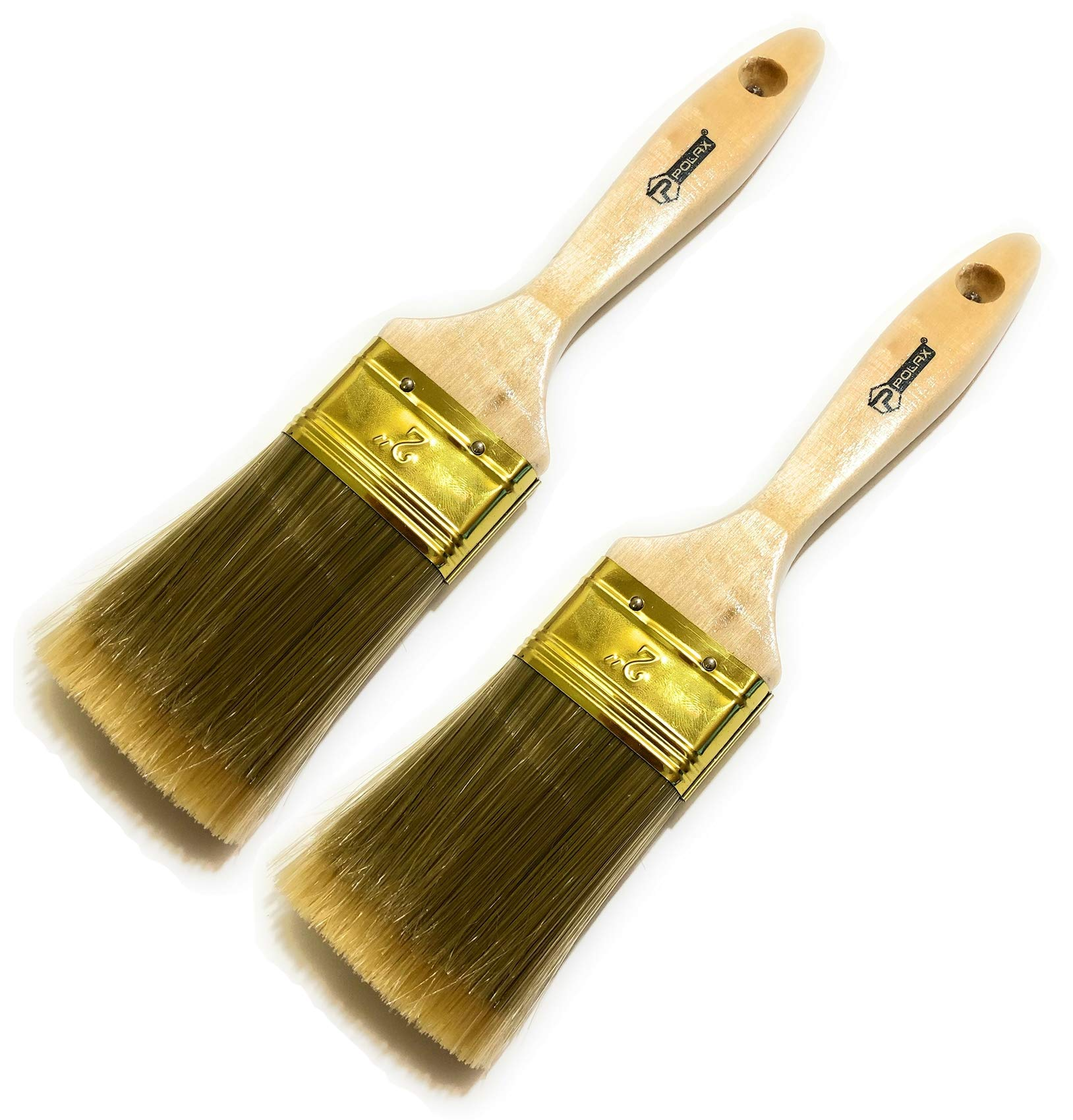 2 Pack - 2 inch Premium Paint Brushes - Long