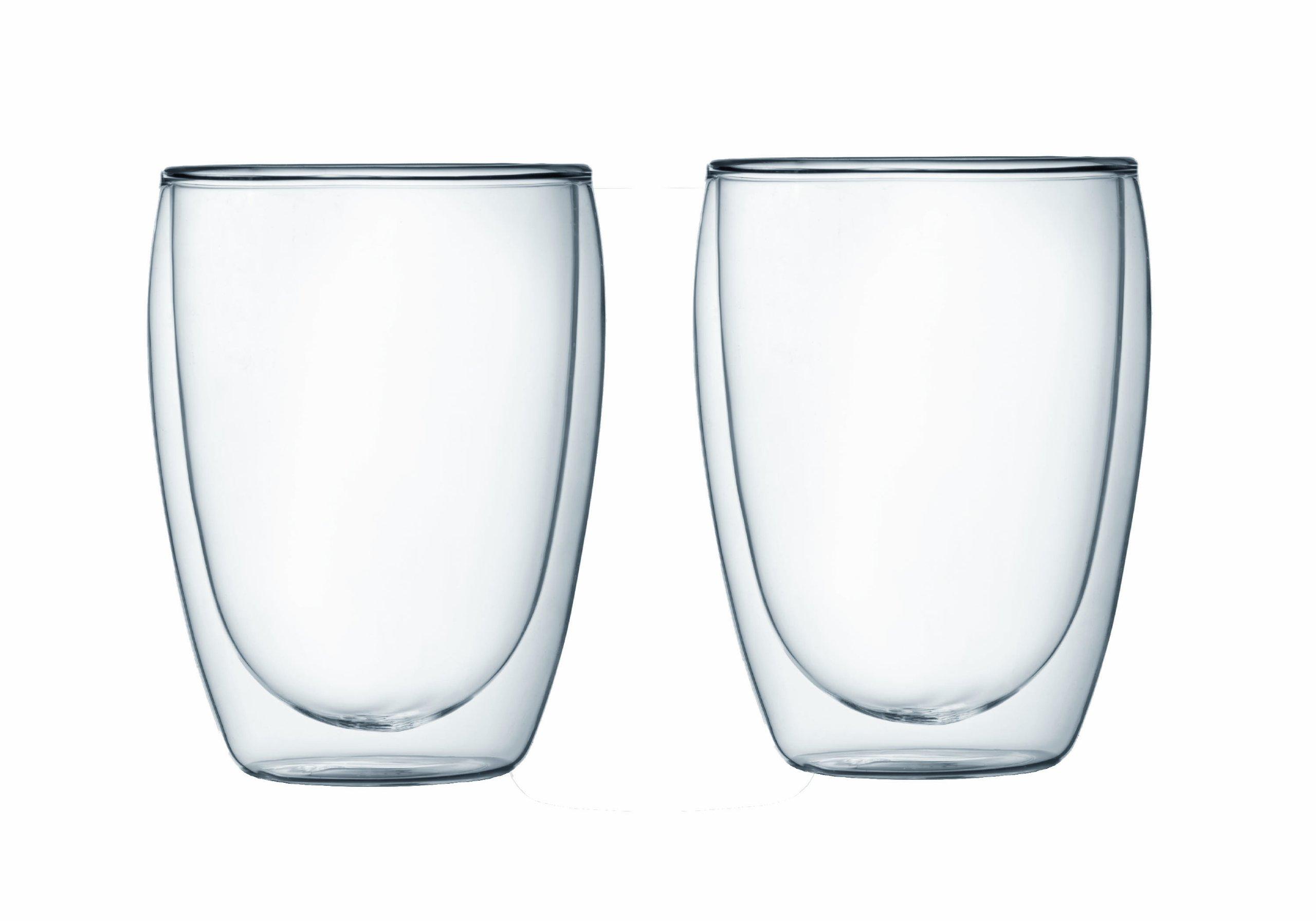 Bodum PAVINA Coffee Mug, Double-Wall Insulated Glass Mug, Clear, 12 Ounces Each (Pack of 2)