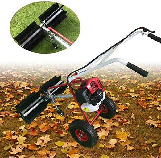 43cc Gas Powered Sweeper Broom Walk Behind Hand Held Cleaning Machine 2-Strock