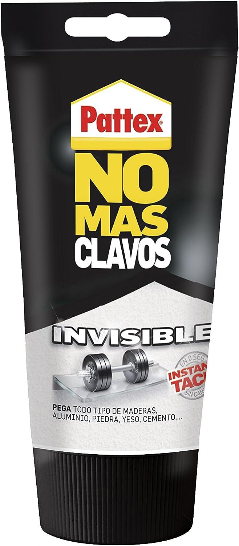 Pattex No Más Clavos Invisible, pegamento resistente transparente, pegamento extrafuerte para madera, metal y más, adhesivo de montaje instantáneo, 1 tubo x 120 g