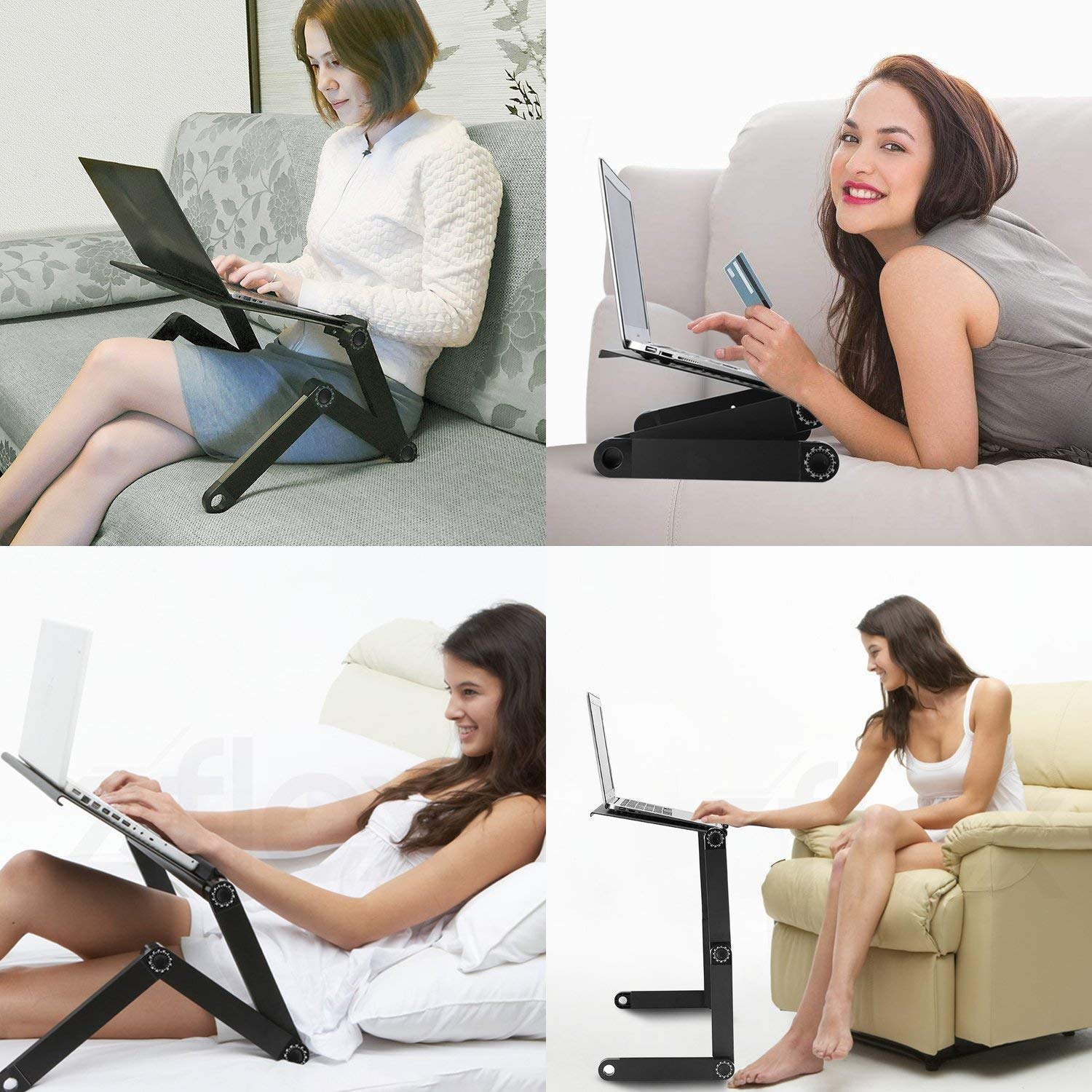 RAINBEAN Adjustable Laptop Table Stand for Bed,Portable Vented Lap Desk with Mouse Pad Side Compatible Notebook Tablets MacBook,Foldable Tray Table for Couch and Sofa,Aluminum Ergonomics Design-Black