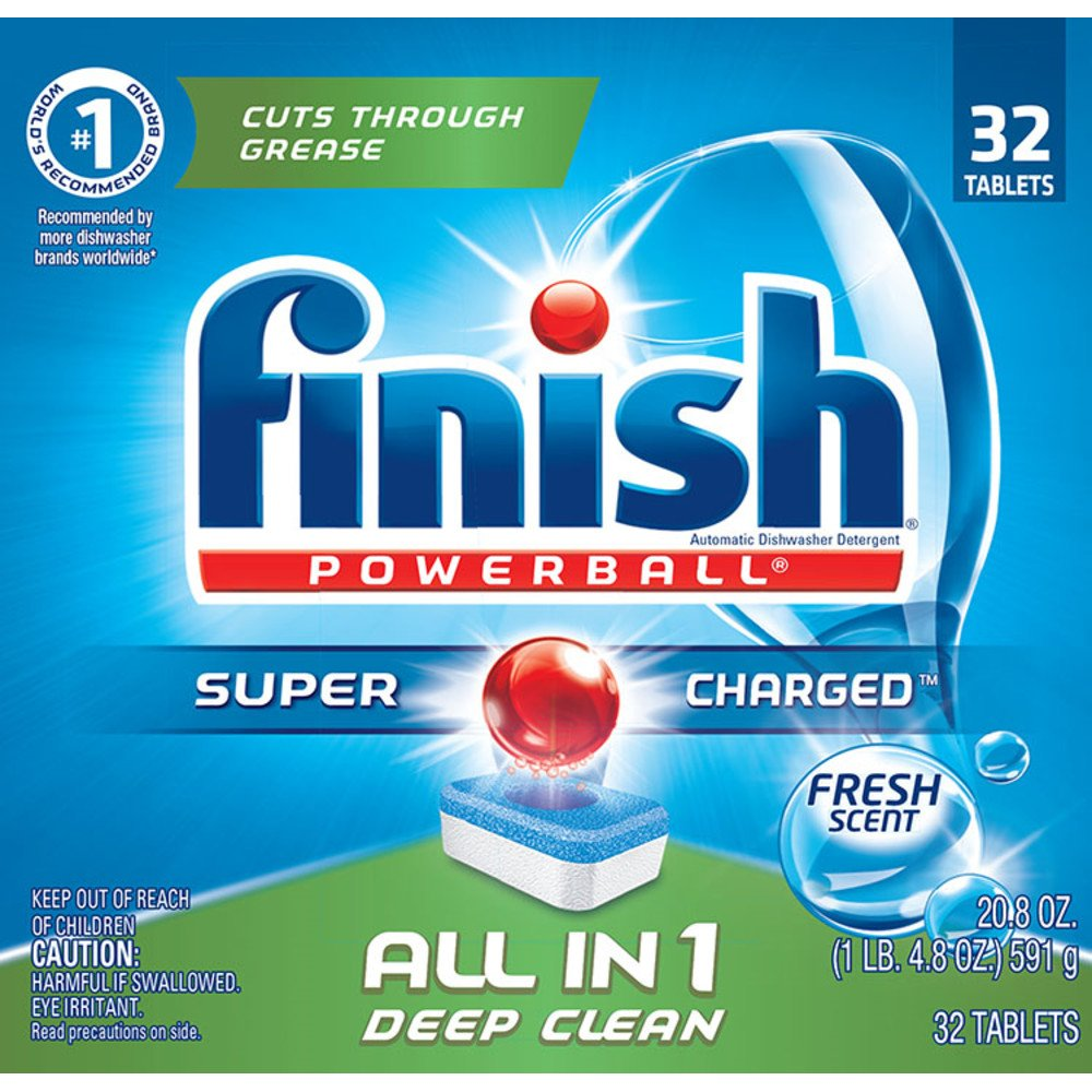 Finish Powerball Tabs Dishwasher Detergent Tablets, Fresh Scent, 32 ct
