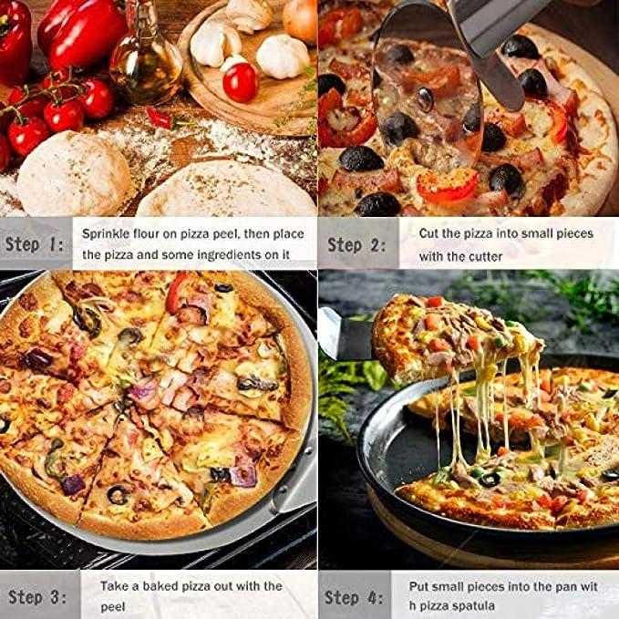 G/âteau Tartes Et Biscuits Sur Oven Grill Pelle /à Pizza Acier Inoxydable Pelle De Transfert Pour Pizza Pain Roulette /à Pizza Et Pizza /Épluche Ensemble 3 En 1 Pliable Extra Large