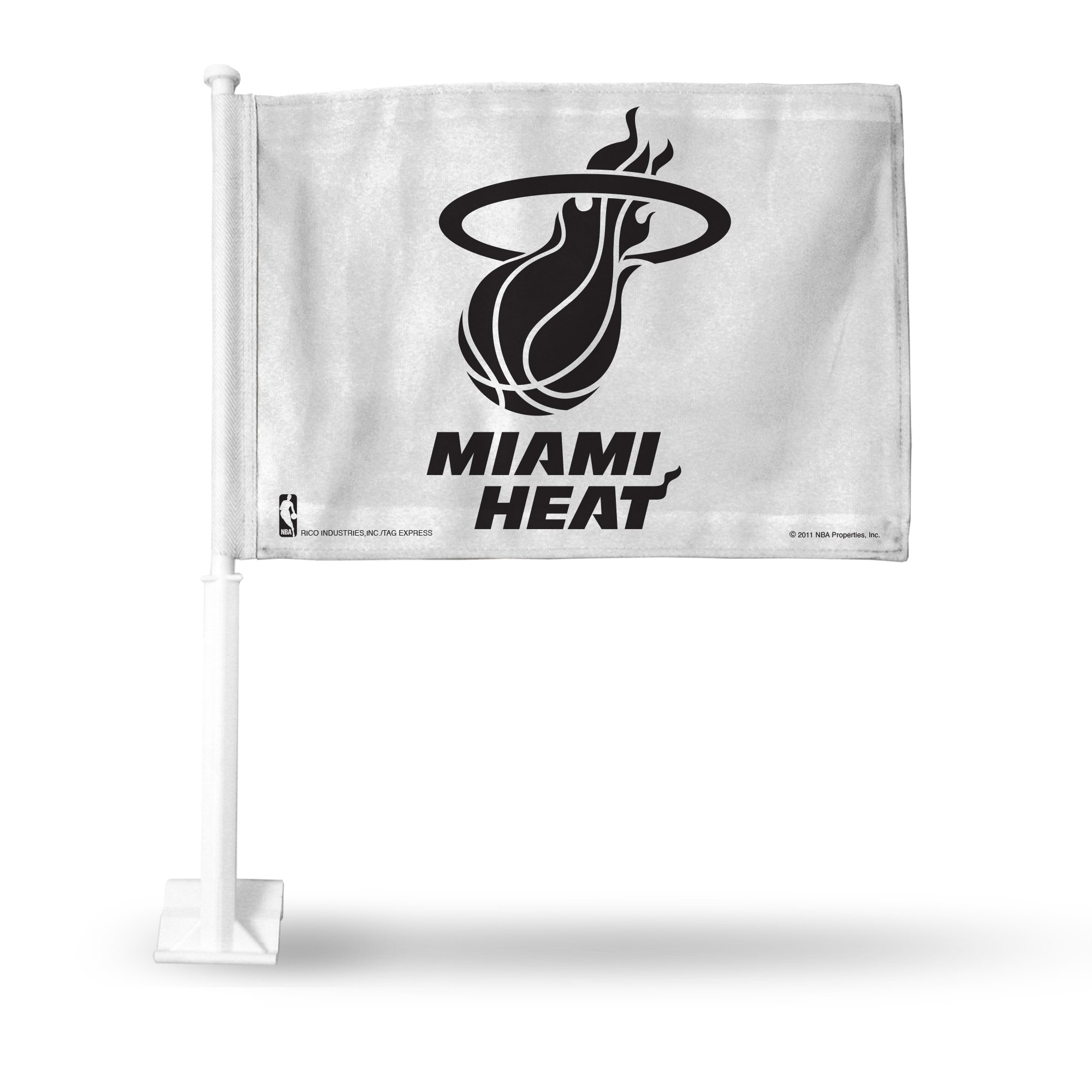 Rico NBA Miami Heat Car Flag, White, with White Pole