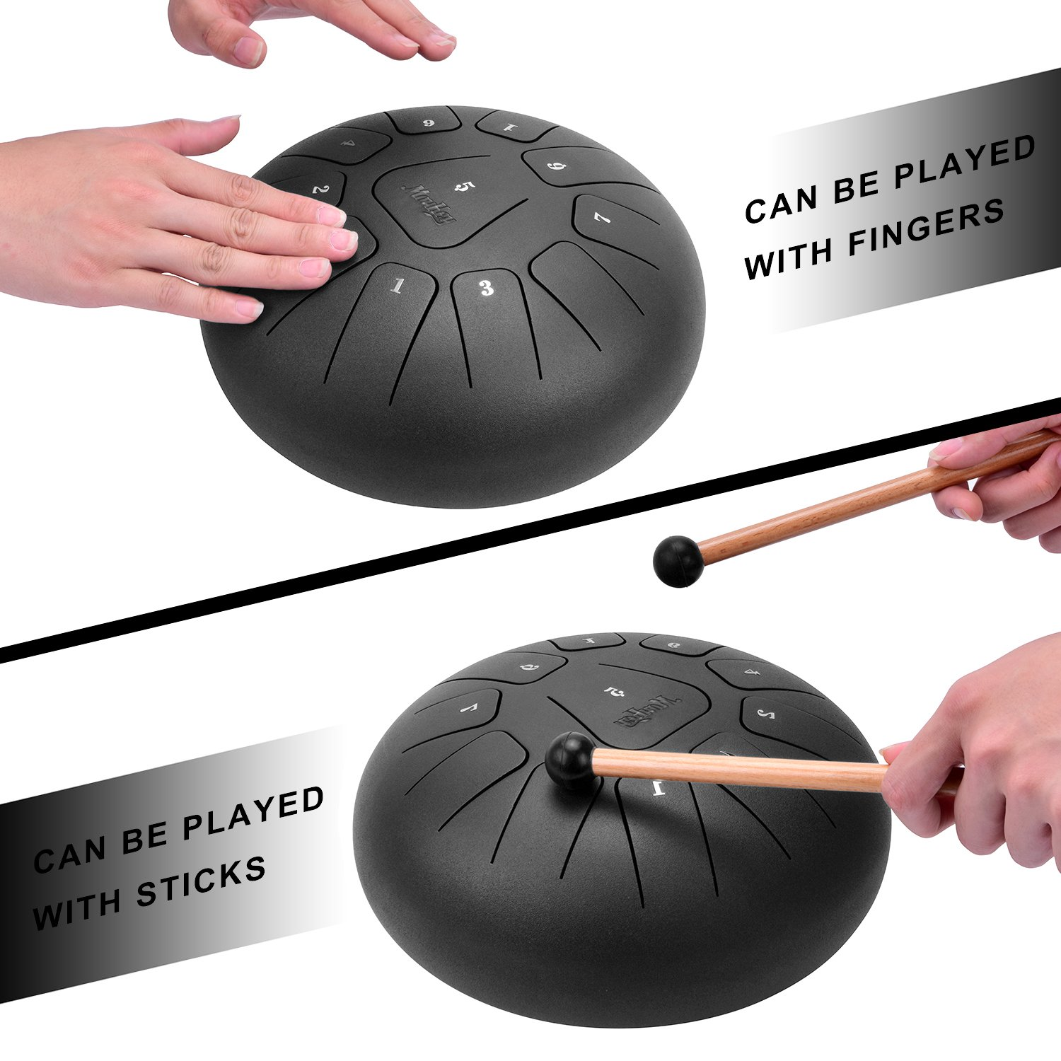 Moukey Mini Tongue Drum Steel Pan Drum 11 Notes 10 Inches Percussion with Padded Travel Bag by Moukey (Image #6)