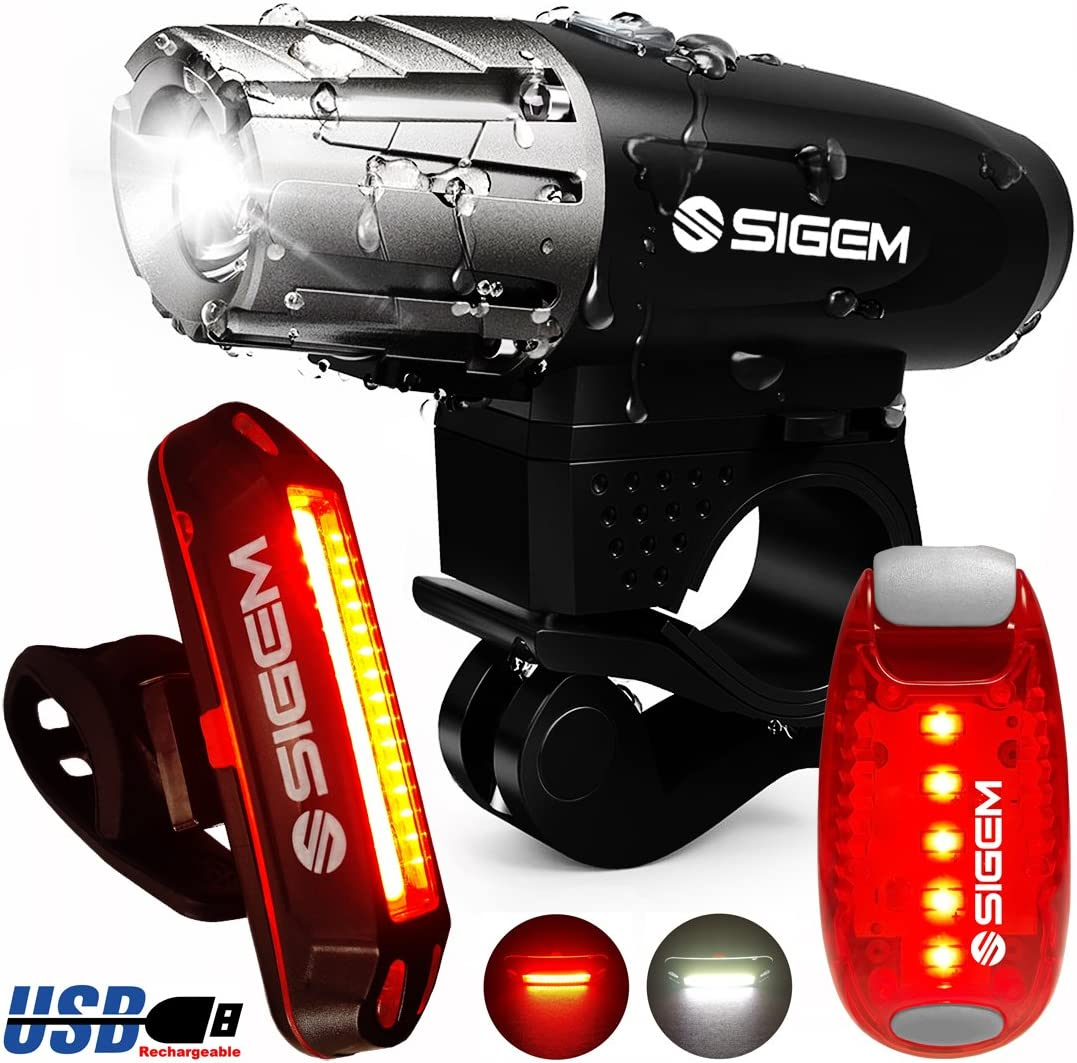 SIGEM Bike Light Set, 3 Pack Ultra Bright, USB Rechargeable, LED Front Headlight, Rear Taillight and Helmet Light. Bicycle Head Tail Lights are Waterproof, Easy to Install.