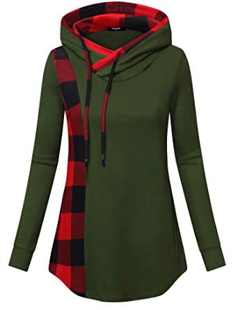 f4e3c4a4d5f Lotusmile Casual Hoodies for Women Ladies Plaid Pullover Plus Size  Sweatshirts with Drawstring Patchwork Tunic Blouses