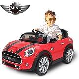 HOMCOM BMW Mini Hatch Voiture Véhicule Electrique Enfant 12V 2 Moteurs 2.5-5KM/H Télécommande Musique Phare Rouge