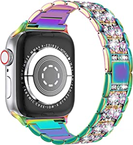 Compatible with Apple Watch Band 38mm 40mm 42mm 44mm SE Series 6 5 4 3 2 1,Replacement Bling Watch Band,Dressy Jewelry Metal Wristband Strap Diamond Rhinestone(Multi-Colored, 38/40mm)