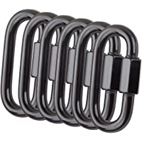 CBTONE 6 PCS Black Quick Link Chain Connector, M8 Heavy Duty D Shape Screw Chain Link Stainless Steel Locking Carabiner Clips, Loading 1760 Lbs.