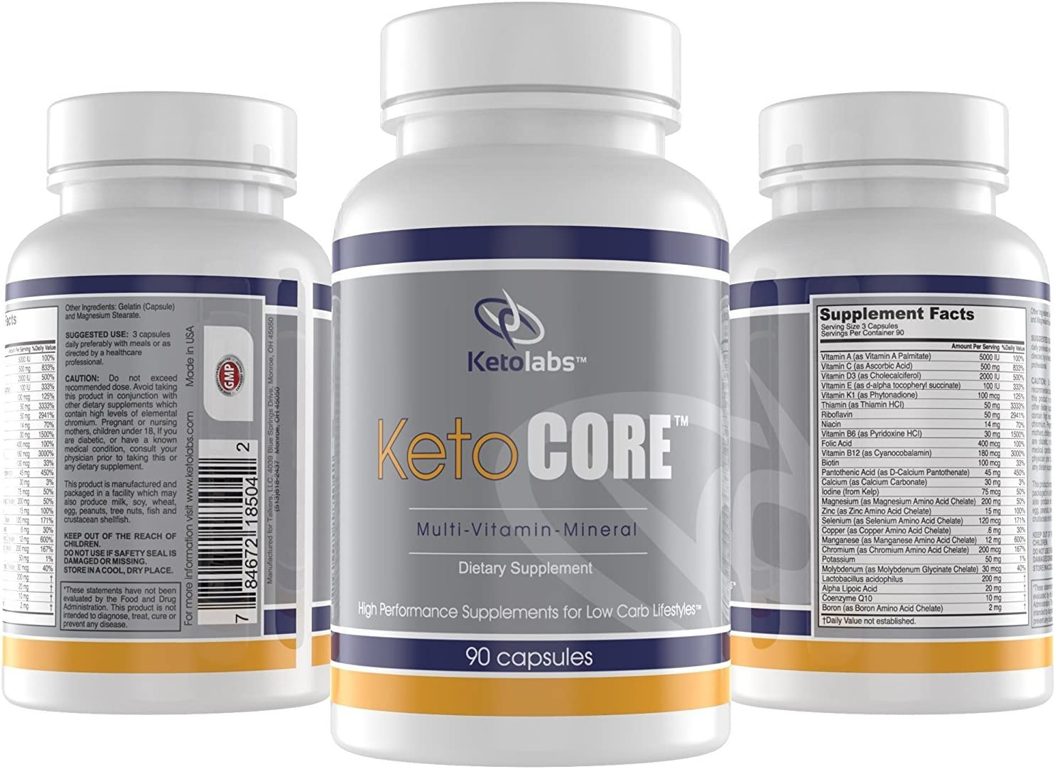 Ketolabs Keto Core Daily Multivitamin for Men and Women Contains Electrolytes, Minerals, Vitamin B, C, D, E, Probiotics Zero Carb Health Supplement for Ketogenic, Intermittent Fasting, Atkins, and Low Carb Weight Loss Diets. 30 Day Supply. 90 Capsules.