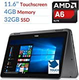Newest Dell Inspiron 3000 2-in-1 Convertible Laptop PC/Tablet, 11.6 LED-Backlit Touchscreen, 7th Gen AMD A6-9220e 2.5GHz Processor, 4GB DDR4, 32GB SSD, Bluetooth, Wifi, MaxxAudio, Windows 10