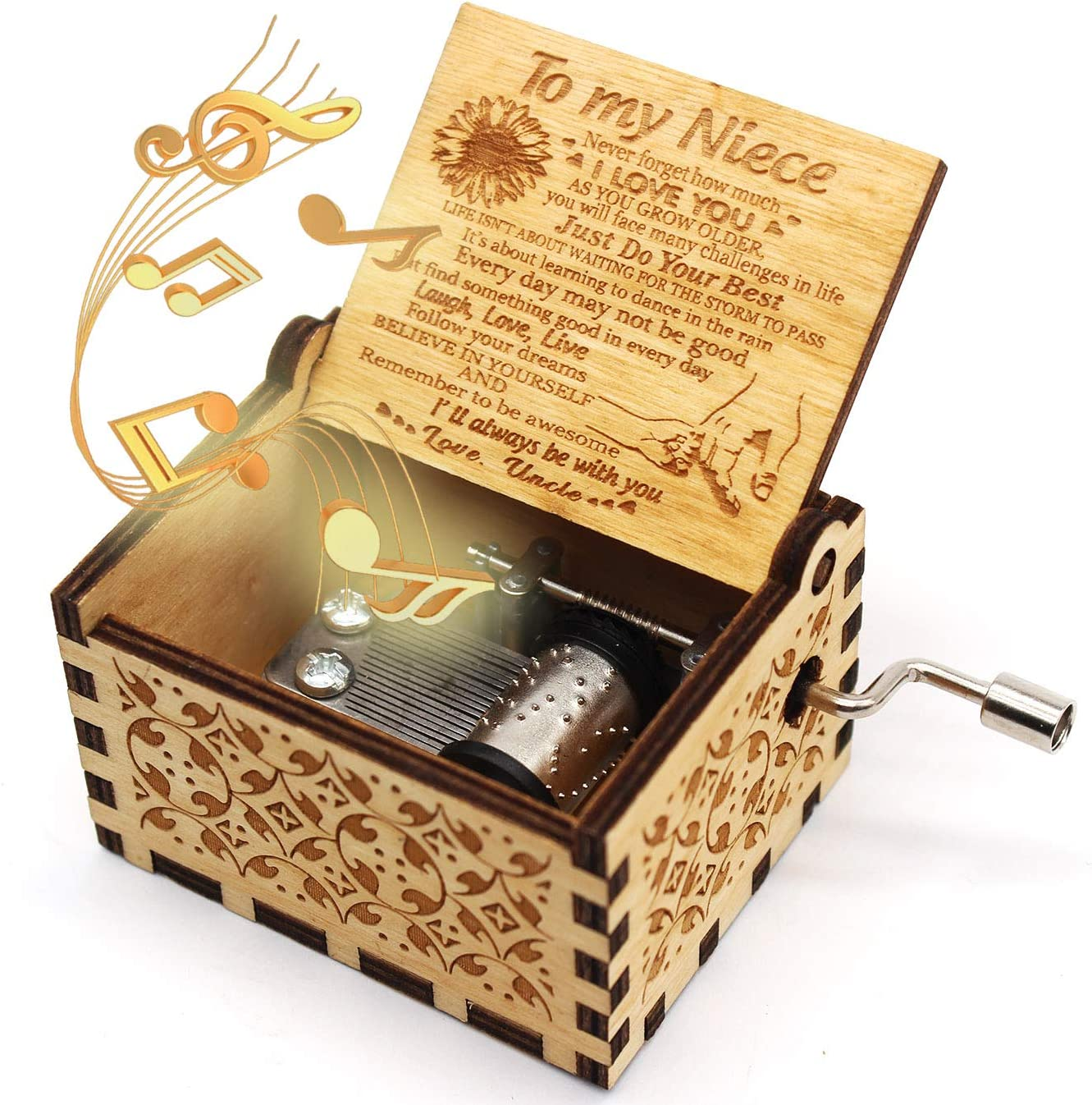 ukebobo Wooden Music Box- You are My Sunshine Music Box, from Uncle to Niece, Unique Music Gifts for Kids - 1 Set(TYH)