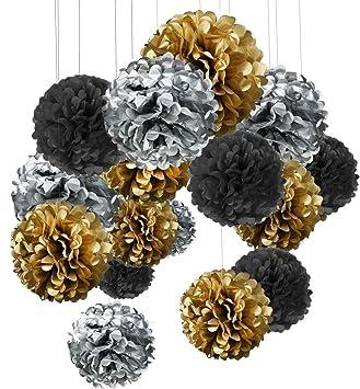 15er Set Pompoms Deko Bunt Seidenpapier Pompons Für Hochzeit Geburtstag Party Gold Schwarz Silber3pcs305cm6pcs25cm6pcs155cm