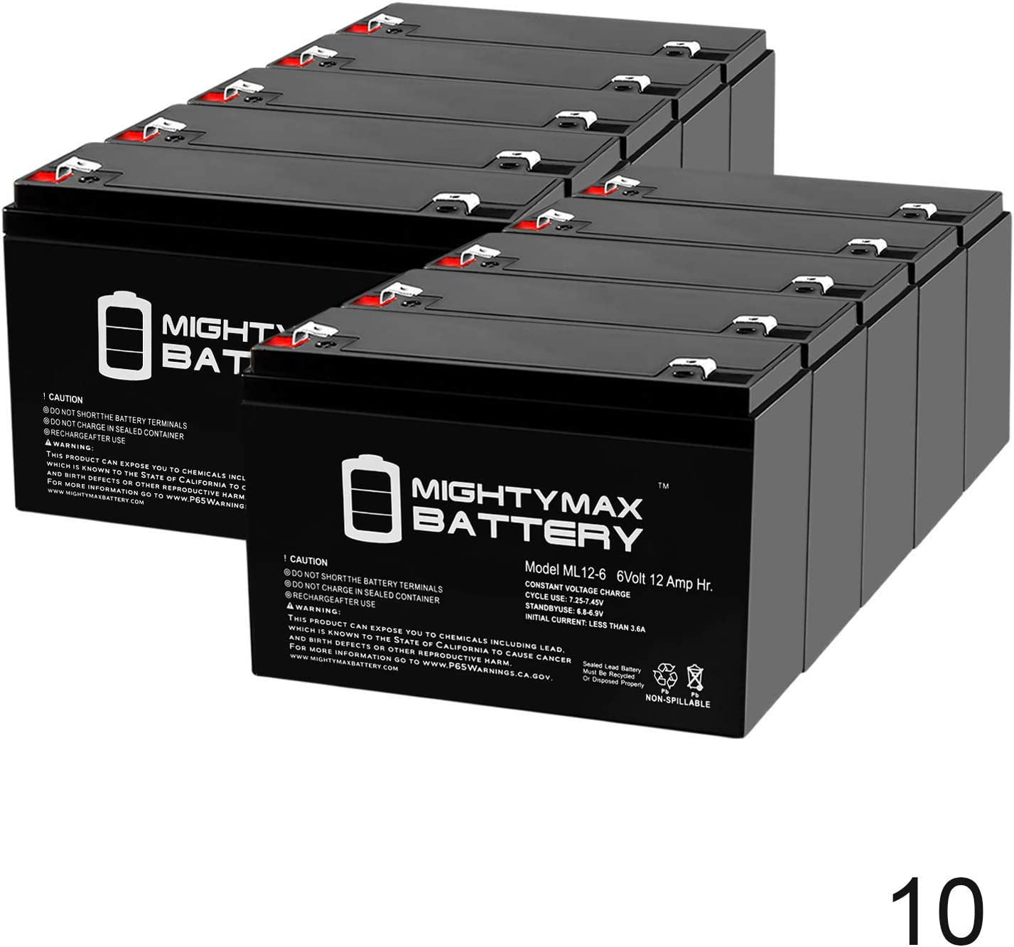 6V 12AH Battery Replaces 10ah Enduring 3FM10 T2 3-FM-10 T2-10 Pack Brand Product Mighty Max Battery ML12-6 .250TT