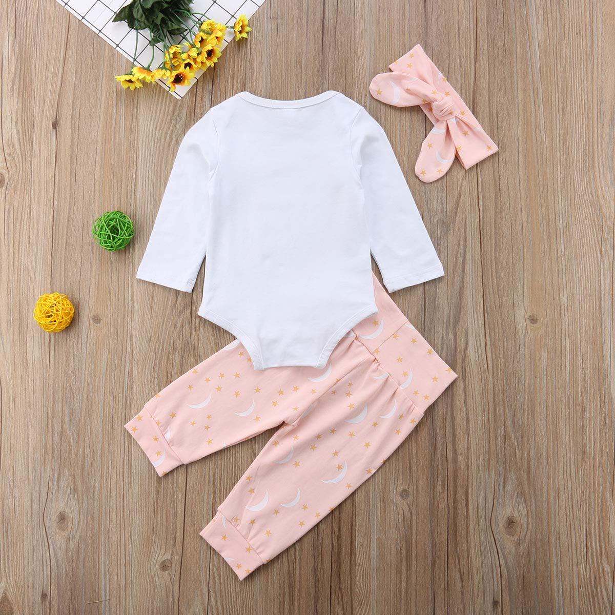 Pants Set Headband Pudcoco Baby Girls Long Sleeve Outfit Love You to The Moon Back Bodysuit
