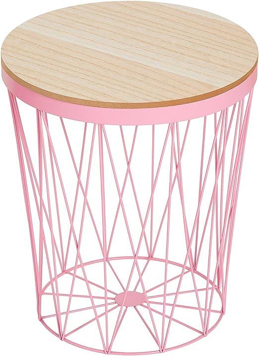 DuNord Design – Mesa auxiliar, cesta mesa redonda rosa Metal mesa ...