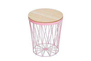 Korbtisch Rund.Dunord Design Beistelltisch Korbtisch Rund Rosa Metalltisch