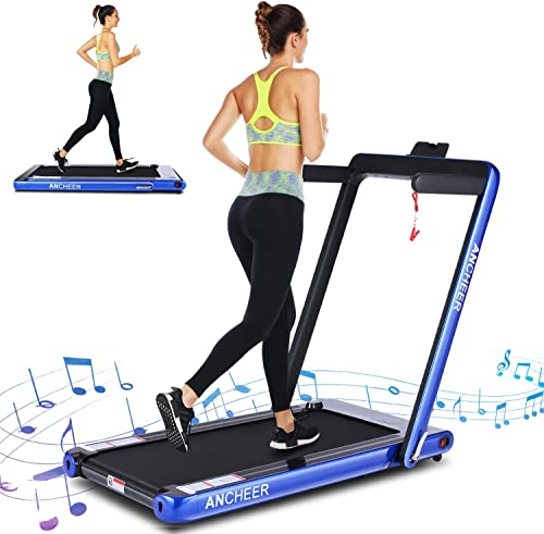 ANCHEER 2 in 1 Folding Treadmill, 2.25HP Electric Under DeskTreadmill, Portable Treadmill Walking Running Machine with Bluetooth Audio Speakers for Home Gym Cardio Exercise