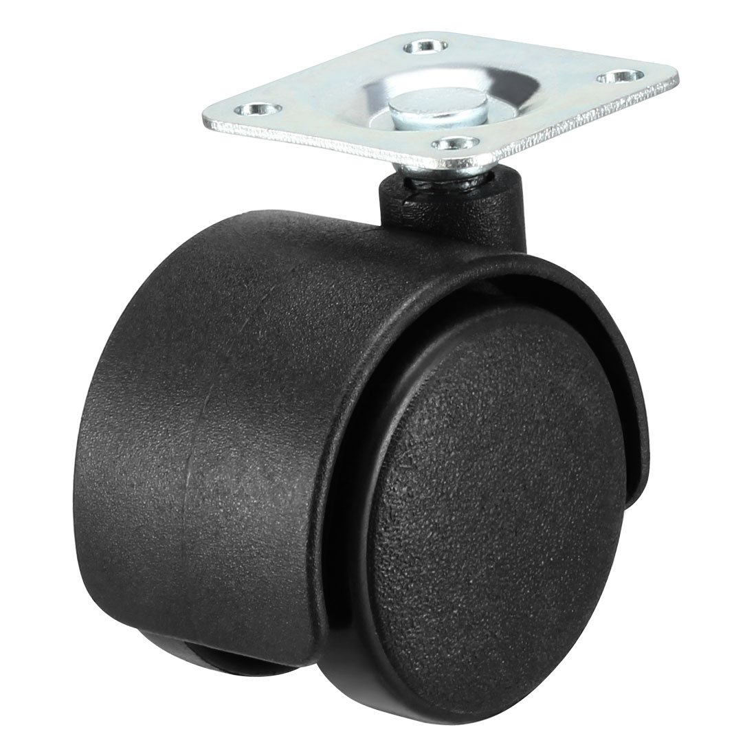 uxcell Swivel Caster Wheels 1.5 Inch Nylon 360 Degree Rotate Top Plate Mounting Furniture Caster Twin Wheel Black 4 Pcs