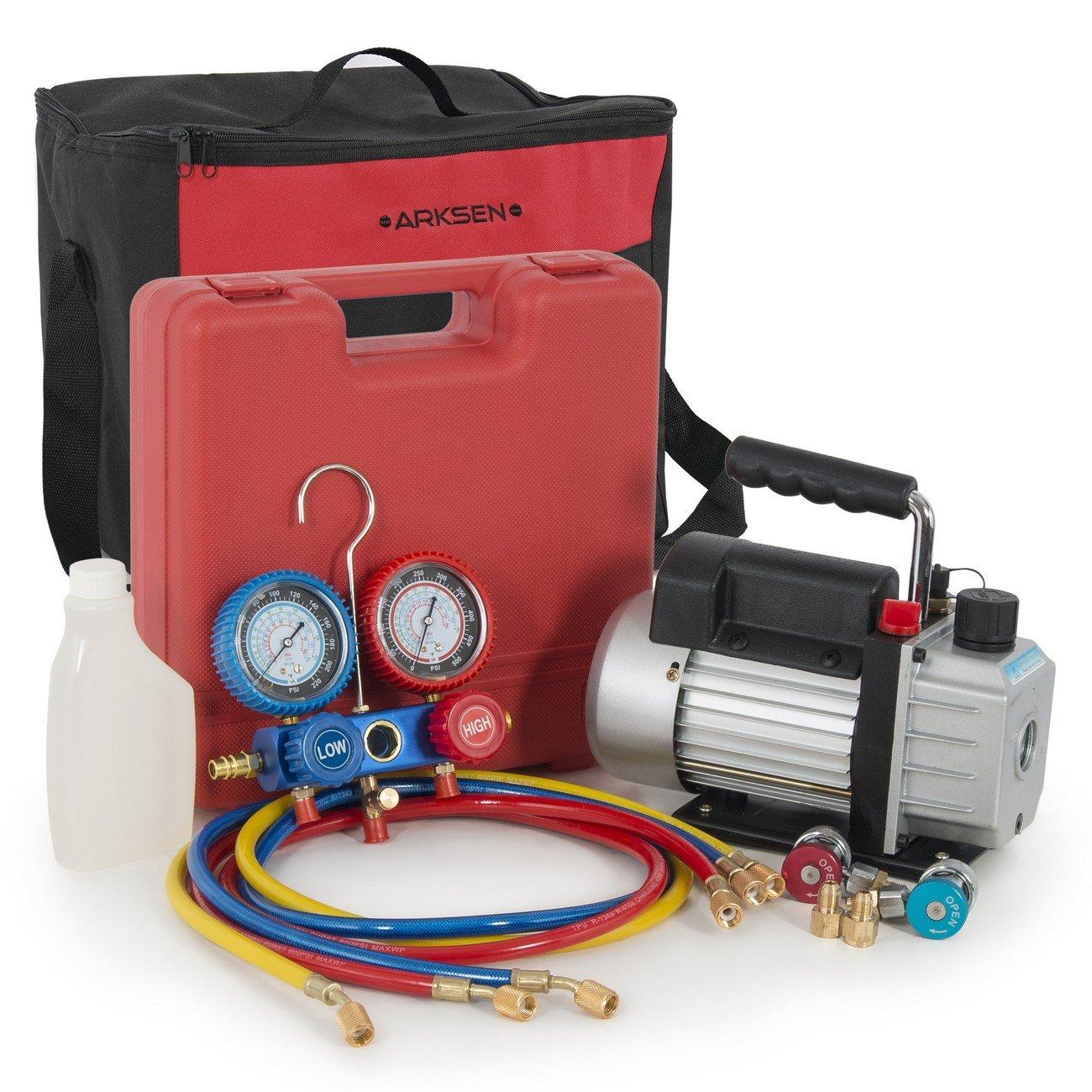 ARKSEN 3CFM Single-Stage Vacuum Pump Refrigerant A/C HVAC Manifold Gauge for R134a (Carrying Bag Kit)