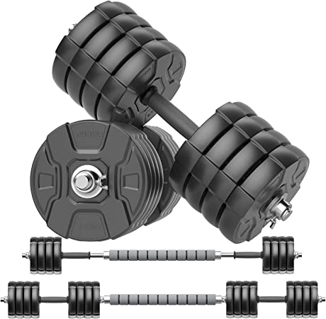 Amazon.com : RUNWE Adjustable Dumbbells Barbell Set, Free Weight Set with Steel Connector at Home/Office/Gym Fitness Workout Exercises Training, All-Purpose for Men/Women/Beginner/Pro(100 lbs-2 Dumbbells in Total) : Sports & Outdoors