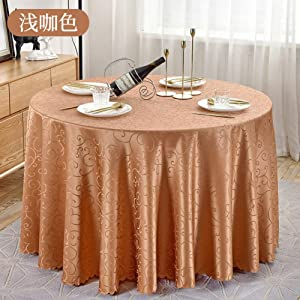 ALIPC Solid Color Jacquard Tablecloth,Thicken Round Durable Table Cover,Waterproof Antiscalding Table Protector,Hotel Desk Mat Khaki Diameter320cm(126inch)