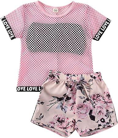 Baby Short Sets Girls Rainbow Letter Print Short Sleeve Bodysuit Tops Ruffle Cuffs Shorts 2PCS Infant Girls Outfits Summer
