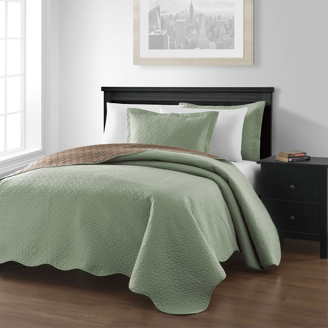 Reversible Bedspread Coverlet Set Queen, Sage/Taupe