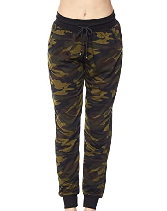 16ee55486 Double U Women's Jogger Terry Lounge Long Jersey Pant Drawstring Elastic  Camo Sweat Pants (Small