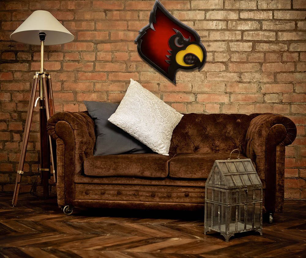 Gear New University of Louisville Cardinal Head 3D Vintage Metal College Man Cave Art, Large, Black/Red/Yellow