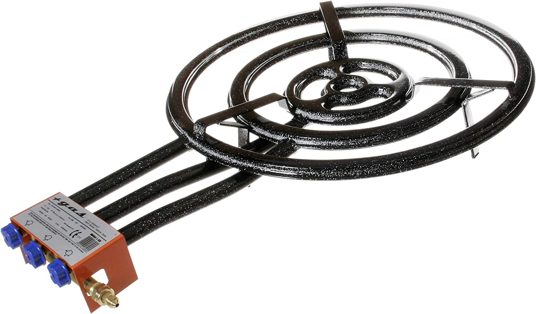 Garcima 76060 - Hornillo paellero, Gas plano l-60, 3 fuegos, Negro, 61 x 88,5 x 14 cm