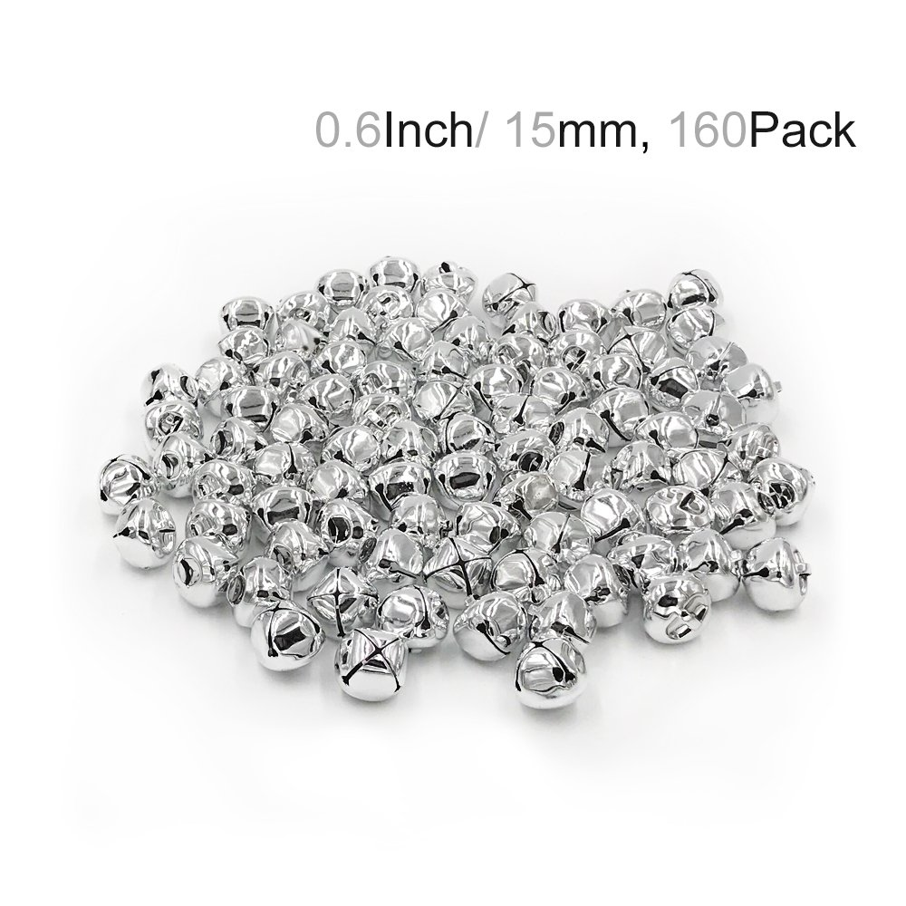 Hot Bear Colorful Jingle Bells 0.6-Inch/ 15mm, 160-Pack (silver)