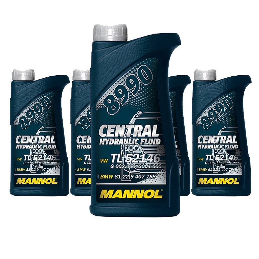 5 x 500ml MANNOL 8990 Central Hydraulic Fluid / CHF11S Hydraulik- Servo- Ö l Grü n SCT