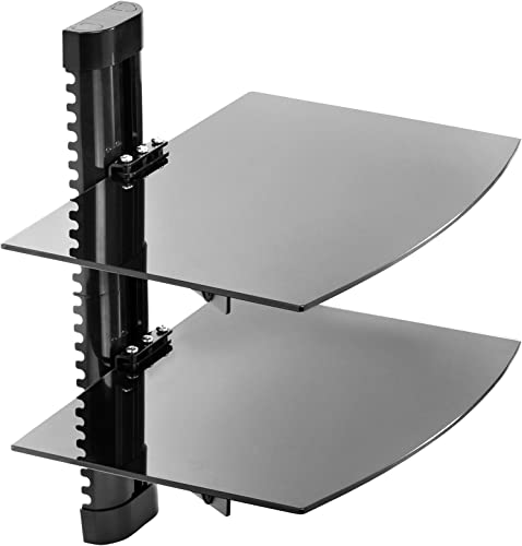 Mount Factory – Adjustable Wall Mount Glass Floating AV DVD Component Shelf – 2 Tier – Black